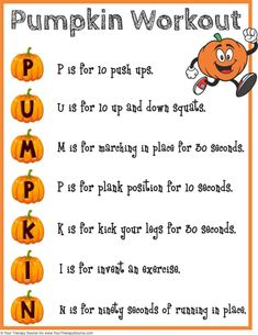 Pumpkin Workout and Brain Break Your Therapy Source is part of Halloween preschool - Try this pumpkin workout to encourage physical activity and exercise in children Use as a brain break in the classroom No prep and fun! Pe Activities, Gross Motor Activities, Physical Activities For Kids, Fall Activities For Kids, Fitness Activities, Holiday Activities, Pediatric Physical Therapy, Physical Education Games, Health Education