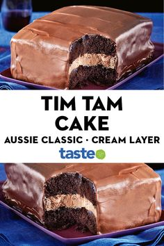 Feast on this – layers of choc cake, fluffy cream filling and rich ganache. That's what we call a Tim Tam slam dunk! Aussie Food, Australian Food, Baking Recipes, Cake Recipes, Dessert Recipes, Tim Tam Cake, Slam Dunk, Cake Baking, No Bake Desserts