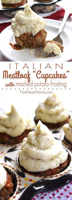 """Italian Meatloaf """"Cupcakes"""" with Mashed Potato Frosting ~ savory meatloaf is flavored with Parmesan, Italian herbs, and marinara sauce, baked in a muffin pan, and then topped with seasoned mashed potatoes in these easy-to-make, fun-to-eat, mini meatloaves 
