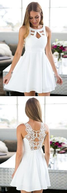 A-Line Jewel Short White Satin Homecoming Dress With
