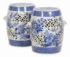Japanese blue and white porcelain garden seats