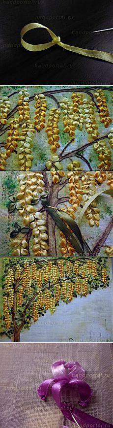 Вышивка лентами картины «Золотой дождь» (часть 2) | Все, что сделано своими руками