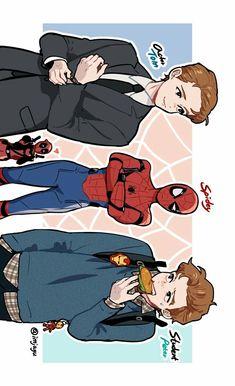 3 Versions of Spiderman Peter Parker Deadpool Cr Funny Marvel Memes, Avengers Memes, Marvel Jokes, Marvel Dc Comics, Marvel Heroes, Marvel Avengers, Parker Spiderman, Deadpool And Spiderman, Spiderman Anime