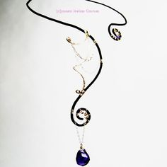 Desdemona Necklace with amethyst, Swarovski crystal, handforged enameled bronze, 14k Gold Fill and Sterling Silver.