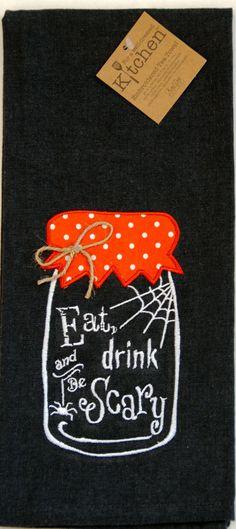 "Halloween Scary Mason Jar Embroidered 100% Cotton Chambray Dish Towel / Tea Towel, 18"" x 28"""