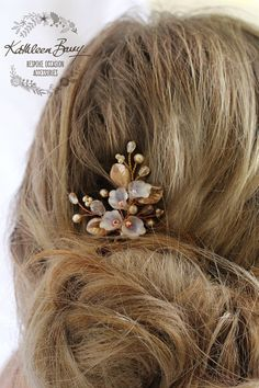 Rose gold crystal pearl hair pin - Floral leaf wedding hair accessory bridal accessories STYLE: Nadine decorative flower pin