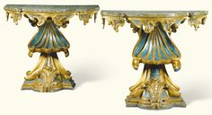 A pair of Italian lacquered and carved giltwood console tables, Roman, second quarter 18th century each with a serpentine painted top simulating breccia green marble above a scrolled foliate carved frieze, the stem in the form of a stylised scallopshell above an acanthus spray flanked by scrolls on a shaped plinth base one 92cm.