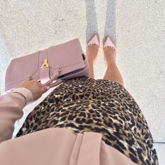 Leopard pencil skirt - YSL blush purse - Christian Louboutin pumps - nude blouse // StylishPetite.com