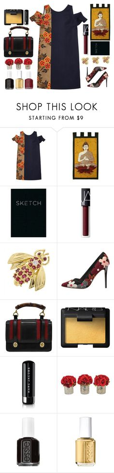 """MSGM Dress"" by juliehalloran ❤ liked on Polyvore featuring MSGM, NOVICA, Piccadilly, NARS Cosmetics, Tiffany & Co., Alice + Olivia, Gucci, Marc Jacobs, The French Bee and Essie"