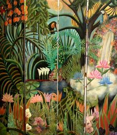 Jungle Room Divider - tropical - Rousseau-inspired - los angeles - RebeccaBothFineArts