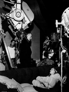 Marilyn Monroe and Louis Calhern on the set of The Asphalt Jungle (1950, dir. John Huston)