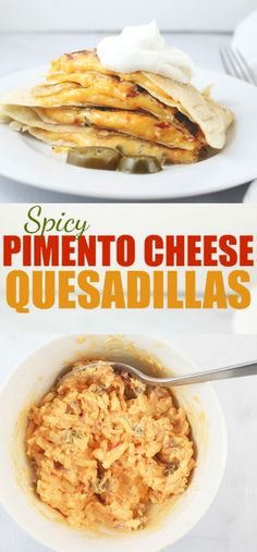 These Spicy Pimento Cheese Quesadillas are crunchy, creamy, spicy & delicious. They have only 4 ingredients, are easily ready to eat in less than 10 minutes and packed full of flavor and texture.