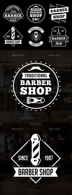 #Barber Shop Badge & Logo - Badges & Stickers #Web #Elements