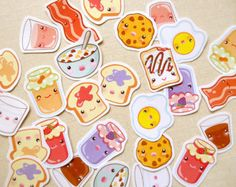 Cute Breakfast Sticker Pack of 28 - Kawaii Toast Bacon Eggs Planner Stickers, Calendar Tabs, Cute Food Stationery, PB&J, Milk and Cereal