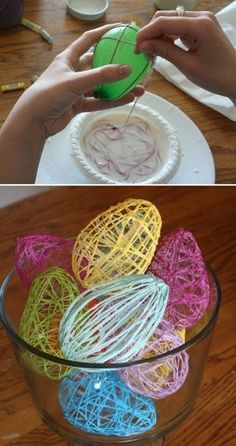 Colored string soaked in water/flour mixture. Wrap string around balloons and let dry overnight. Pop balloons. Great easter craft idea!!