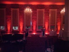 Red Uplighting On Brick Walls Adds An Amazing Ambiance Mywedding