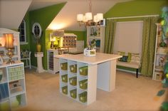 green craftroom in the bonus room love this idea - Sewing Room Design Ideas
