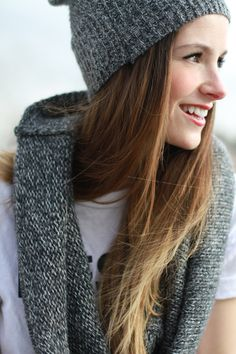 DIY Sweater into infinity scarf and beanie
