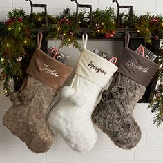 Buy personalized faux fur Christmas stockings and add any name, initial or monogram to be custom embroidered in your choice of colors and fonts. Choose from ivory, brown and grey faux fur Christmas stockings. Cute Christmas Stockings, Diy Stockings, Christmas Towels, Christmas Gifts, Christmas Decorations, Christmas Tree, Holiday Decor, Purple Christmas, Farmhouse Christmas Decor