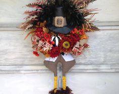 Thanksgiving Wreath Fall Wreath Turkey by UniqueThingamajigs Thanksgiving Wreaths, Autumn Wreaths, Fall Wreaths, Thanksgiving Decorations, Thanksgiving Turkey, Door Wreaths, Turkey Wreath, Pumpkin Wreath, Football Wreath