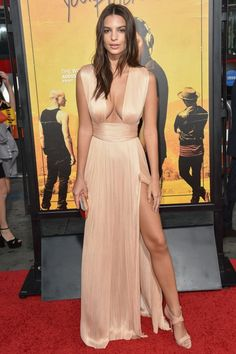 Emily Ratajkowski Stuns In A Plunging Silk Champagne Gown At The 'We Are Your Friends' LA Premiere, 2015