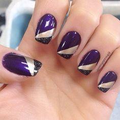 Photo from roxitibeaute Purple Acrylic Nails, Purple Nail Art, Purple Nail Designs, Gel Nail Art Designs, Fingernail Designs, Pretty Nail Art, Cute Nail Designs, Beautiful Nail Art, Blue Nails