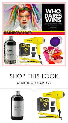 """""""Rainbow Hair"""" by wreathjar ❤ liked on Polyvore featuring beauty, Sort of Coal, Lorion and rainbowhair"""