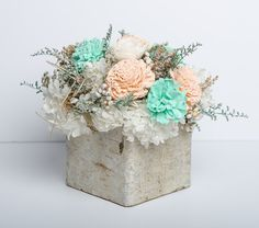 Mint, Peach & Ivory Sola Flower Centerpiece, Birch Wedding Centerpiece, Shabby Chic, Country Wedding, Rustic Wedding Centerpiece