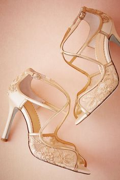 8a816074614 BHLDN Gilt Lace Heels in Bride Bridal Shoes at BHLDN Lace Heels
