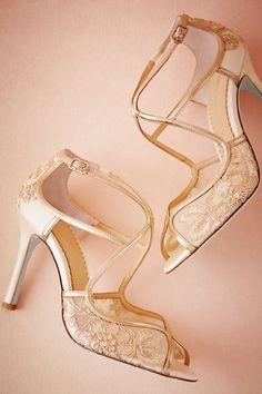 Gold Gilt Lace Heels   BHLDN
