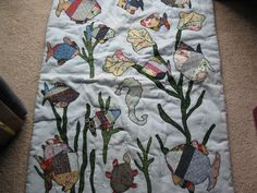 LAP QUILT, WALL HANGING, HANDMADE  LITTLE FISHIES AND SEA HORSE, ALL APPLIQUE
