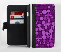 The Purple Circles Pattern Ink-Fuzed Leather Folding Wallet Credit-Card Case for the Apple iPhone 6/6s, 6/6s Plus, 5/5s and 5c