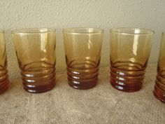 6 Juice Glasses by Libby Amber Gold/ Vintage by FeistyFarmersWife, $12.00