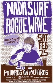 Date : 11 february 2012 Country : FR - France Town : Lille Location : Le Splendid SetList : Clear Eye Clouded Mine Waiting Fo. Nada Surf, Rogue Wave, Poster Prints, Gig Poster, Music Posters, Waves, Tours, Art, Art Background