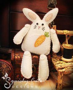 Bunny Sewing Pattern PDF - Stuffed Animal Felt Plushie - Flopsy the Rustic Bunny. $4.00, via Etsy.