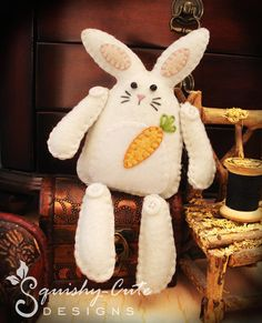 Bunny Sewing Pattern PDF - Stuffed Animal Felt Plushie - Flopsy the Rustic Bunny. $4.00, via Etsy.