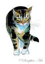 Katze Orig. Aquarell Bild Cat Watercolor Painting Seraphin-Art Chat 2013-09-009 Tier Katze