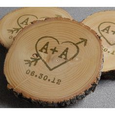 Handmade drink coasters that can be used for wedding favours! Just get our round wood slices and get them engraved or paint them yourself. Finish it up with varnish. More DIY wedding ideas available at www.craftmill.co.uk