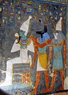 Egyptian tomb painting showing the gods Osiris, Anubis, and Horus, who are among the major deities in ancient Egyptian religion. Detail of the frieze of the wells in the tomb of Pharaoh Horemheb Ancient Egyptian Paintings, Ancient Egyptian Deities, Ancient Egyptian Religion, Ancient Tomb, Ancient Egypt Art, Ancient Civilizations, Ancient History, Egyptian Artwork, European History