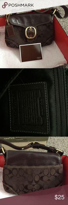 Spotted while shopping on Poshmark: Coach small chocolate bag! #poshmark #fashion #shopping #style #Coach #Handbags