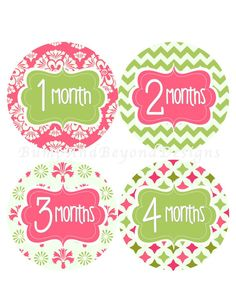Monthly Baby Stickers INSTANT DOWNLOAD by BumpAndBeyondDesigns, $5.00
