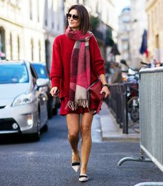 A red sweater and skirt make the perfect combo tied in with nude pointed flats. // Photo: The Styleograph #Streetstyle #PFW