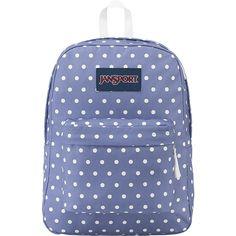 JanSport SuperBreak Backpack - Bleached Denim / White Dot - School... ($36) ❤ liked on Polyvore featuring bags, backpacks, backpack, blue, utility backpack, polka dot backpack, padded backpack, polka dot bag and utility bag