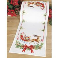Christmas runners Cross  Cross on Pinterest Stitches, christmas kits  Cross Stitch table Christmas