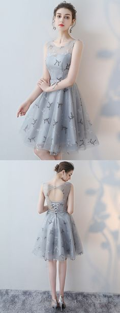 A-line Scoop-Neck Mini Tulle Gray Homecoming Dresses ASD26954 #homecomingdresses #a-line #shorts #minis #gray