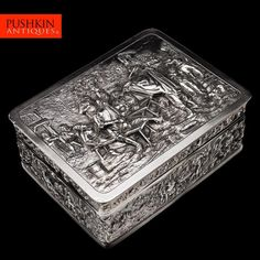 ANTIQUE 20thC DUTCH SOLID SILVER TENIERS STYLE CHASED BOX, AMSTERDAM c.1920