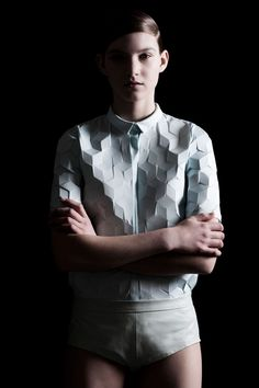 Laser-cut, neoprene fabric, creating 3D, cubic effects - by Alba Prat