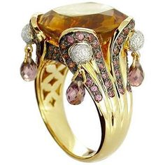 GEM9y oro 18K amarillo citrino, Rhodolite, anillo de diamante