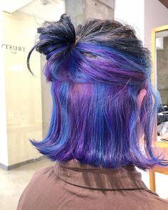 Hair Color Streaks, Hair Color Purple, Hair Dye Colors, Blue Hair, Underdye Hair, Dye My Hair, Hidden Hair Color, Hair Color Underneath, Peekaboo Hair