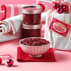Christmas Cranberries Recipe -Bourbon adds bite to this holiday standby, packed in a small heavy-duty glass storage container with a tight-fitting lid. Wrap in a vintage tea towel or cloth napkin, cinch with ribbon and adorn with small ornaments. —Becky Jo Smith, Kettle Falls, Washington